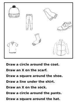 directions worksheets  teaching special