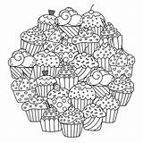 Cupcakes Mandala Cakes Coloring Cup Cute Circle Mandalas Pages Adult Cake Delicious Them Simple Round Composing Colors Favorite These Those sketch template