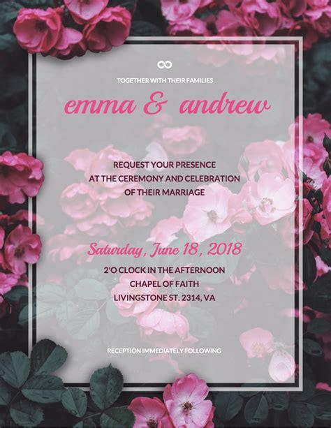 Floral Wedding Invitation Template Venngage