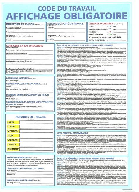code du travail affichage obligatoire