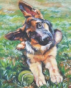 German Shepherd art CANVAS print of LA Shepard painting 8x10