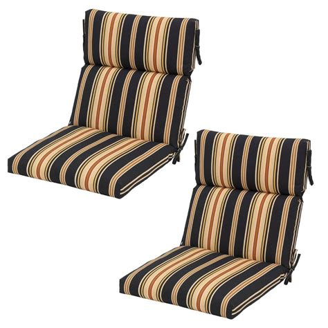 hton bay charcoal stripe outdoor dining chair cushion