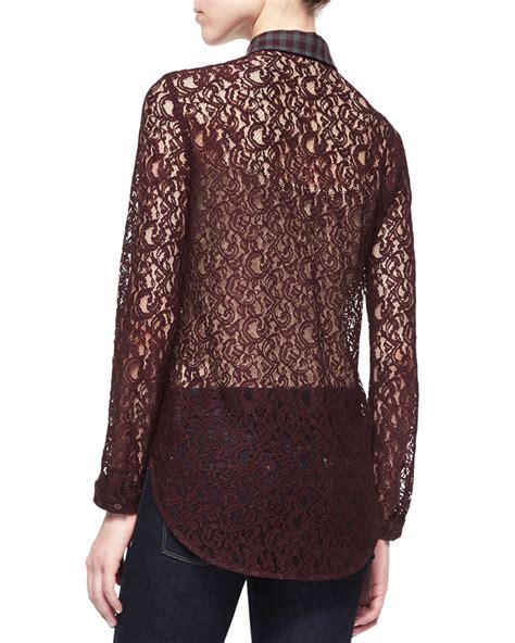 lace collar blouse carven purple lace blouse with plaid collar lyst