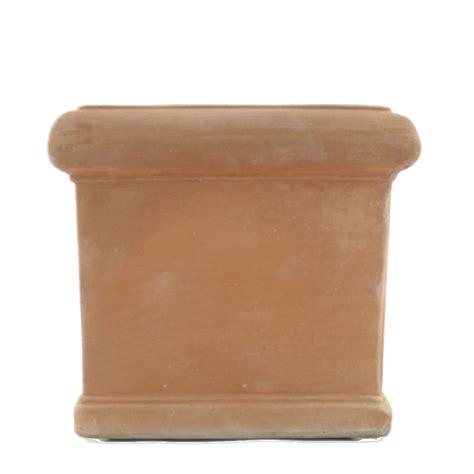 vaso cotto vaso quadrato liscio in cotto toscano melo ceramiche