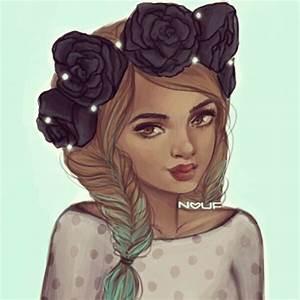 braid, drawing, flower, flower crown - image #731093 on ...