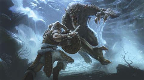 Frost Troll Battle Concept Art Elder Scrolls V Skyrim