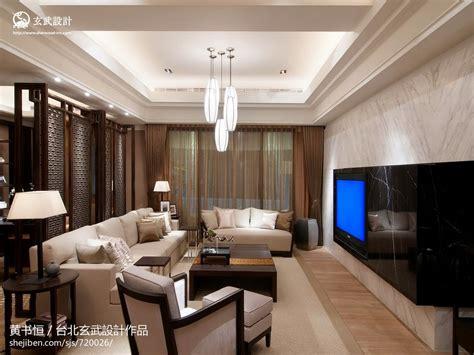 中式客厅天花板吊顶灯设计 土巴兔装修效果图