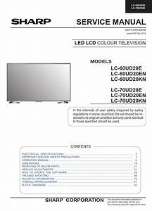 Sharp Lc 60ud20kn 60ud20e 60ud20en Tv Service Manual And