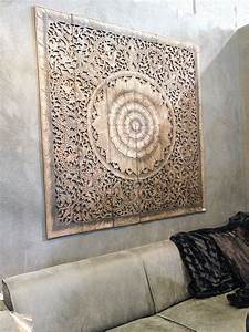 Carved wood wall decor panel : Wall art designs wood carved balinese decor