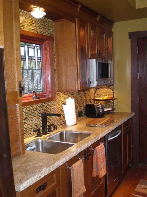 Pickled Oak Cabinets With Backsplash by Arts Crafts Style Kitchen Quarter Sawn Oak Cabinets