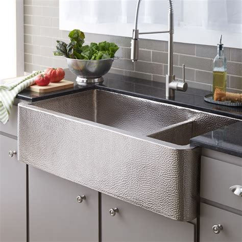 hammered nickel farmhouse sink farmhouse duet pro brushed nickel sink native trails