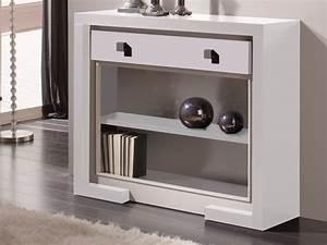 meuble d39entree avec 3 tiroirs laque en blanc et details With meuble entree laque blanc