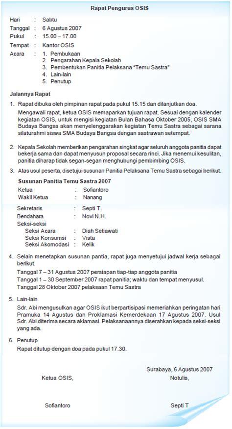 Contoh Notulen Rapat Singkat by Format Notulen Contoh Format Dan Isi Notula