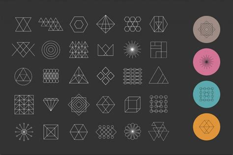 geometry shapes icons vectors