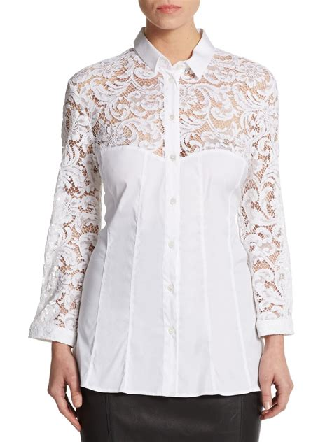 burberry blouse lyst burberry lace inset cotton blend blouse in white