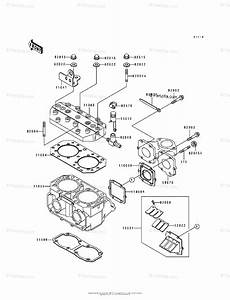 Kawasaki Jet Ski 1992 Oem Parts Diagram For Cylinder Head