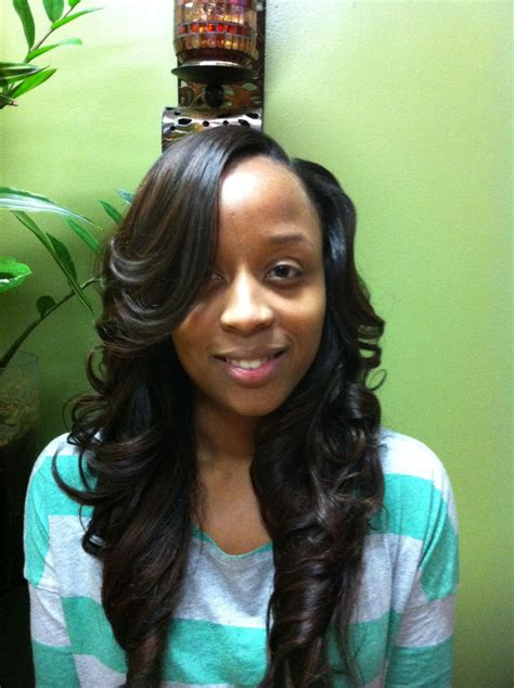weave with layers and side part hair
