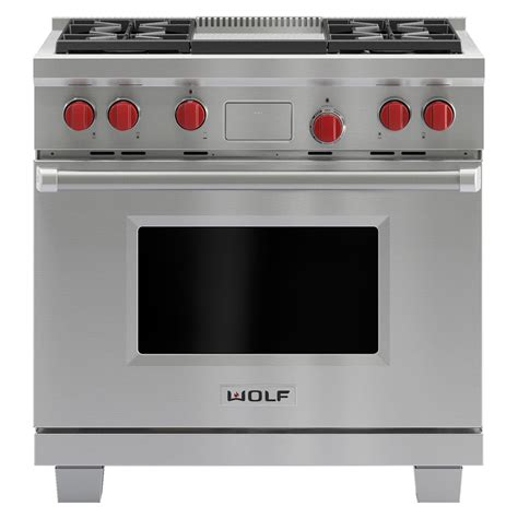 wolf dfg   pro style dual fuel range   burners  infrared griddle stainless
