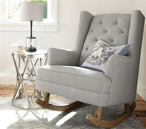 Light Grey Chair Modern Tufted Wingback Rocker Stylish Nursery Chairs Pottery Barn Kids