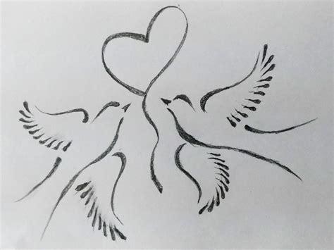 Love Birds Pencil Sketch Drawings