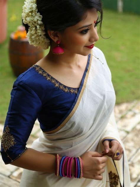 navy blue blouse  kerala saree kerala saree blouse