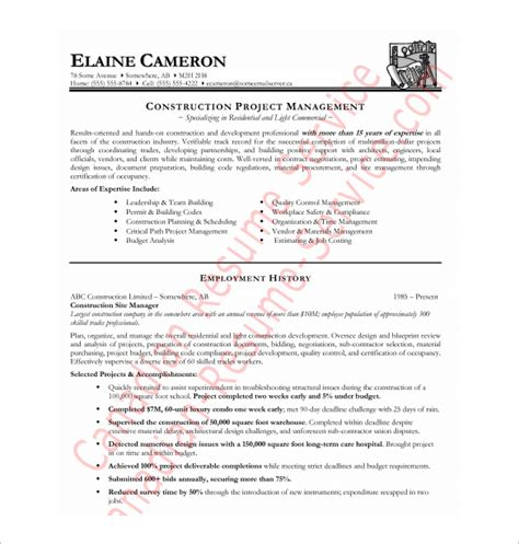 free pdf resume templates construction resume template 9 free word excel pdf