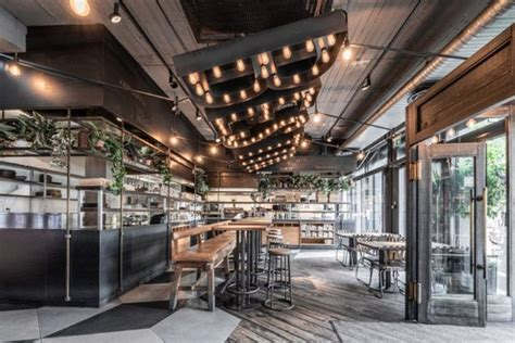 gorgeous restaurant  concrete walls  wood elements