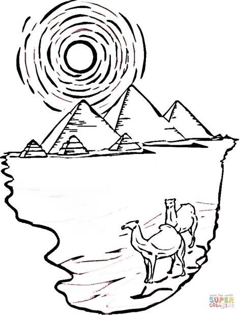 disegno  piramidi  cammelli dellegitto da colorare