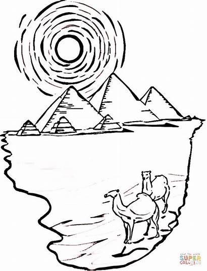 Colorare Disegni Egitto Piramidi Antico Cammelli Disegno