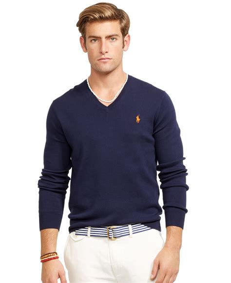 mens v neck sweater polo ralph v neck sweater in blue for lyst