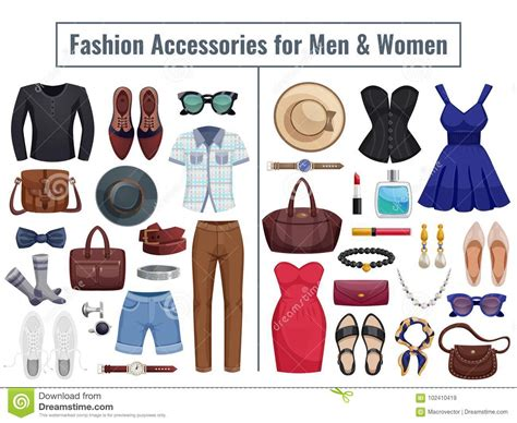 Men And Women Accessories Icon Set Stock Vector