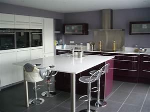 cuisine ouverte haute de gamme plan de travail et ilot With plan cuisine ilot central