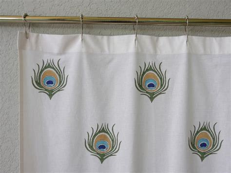 Peacock Shower Curtain, Feather Shower Curtain, Ivory