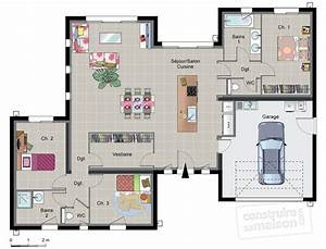 maison contemporaine de plain pied detail du plan de With good plan de maison 150m2 6 couleur maison construction plan de maison de plain pied