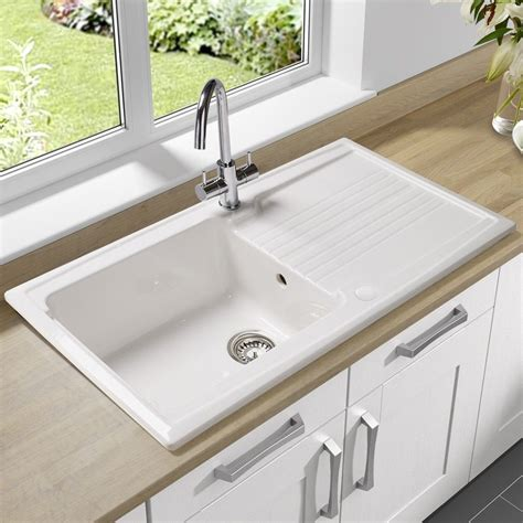 Big White Kitchen Sink by Single Bowl Undermount Sink With Drain Board Made Of