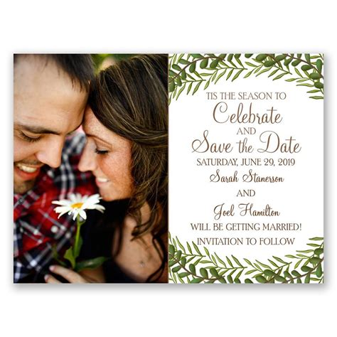 tis  season holiday card save  date anns bridal