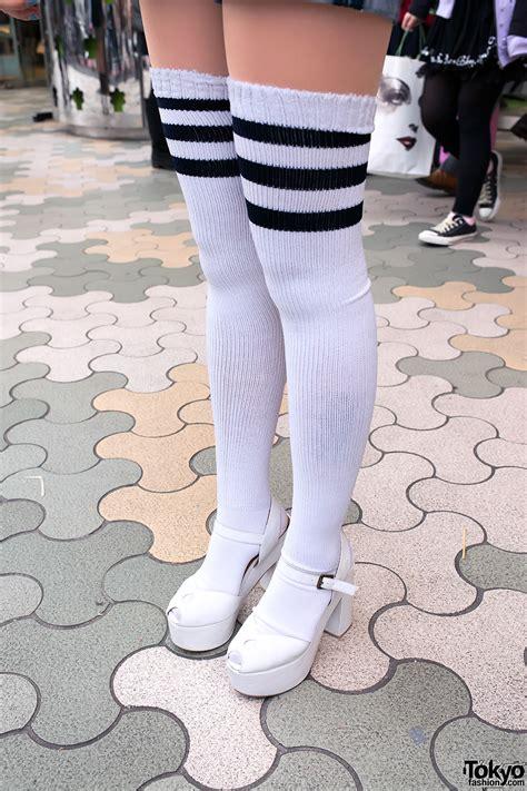 knee striped tube socks tokyo fashion