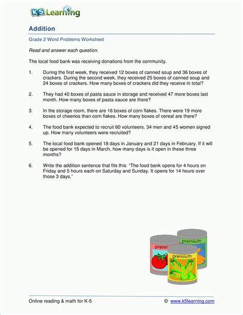 Grade 2 Addition Word Problem Worksheets (12 Digits)  K5 Learning