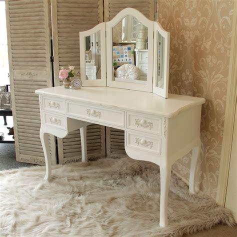 bureau coiffeuse en bois blanc coiffeuse bureau miroir maison style