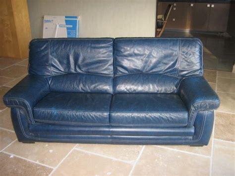 vend canapé part vend canapé fauteuil cuir buffle bleu ameublement