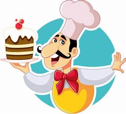 Chef Pastry Vector Cartoon Clip Cake Illustrations
