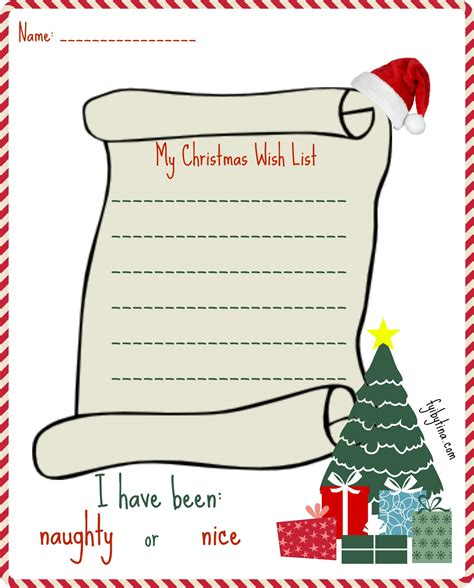 printable  christmas  list  santa