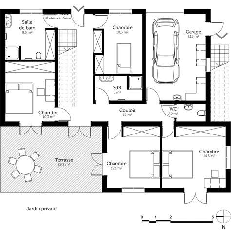 plan plain pied 4 chambres plan maison à étage en l avec terrasse ooreka