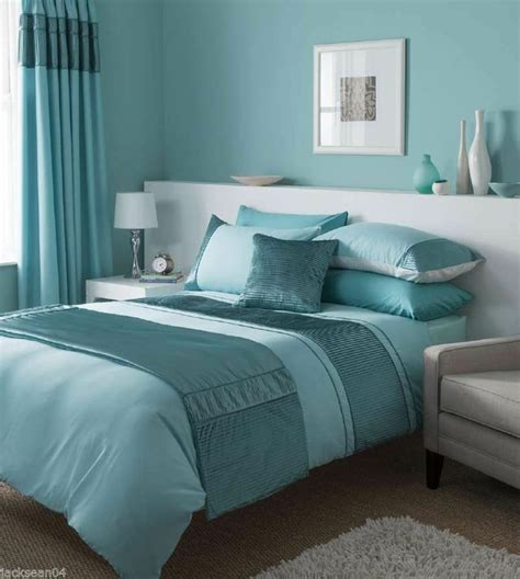 stunning duck egg blue duvet set  matching curtains