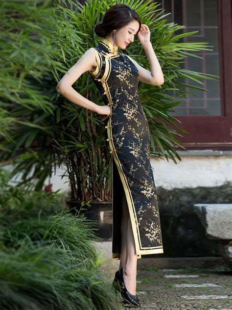 gold cherry blossom black floral silk brocade long party