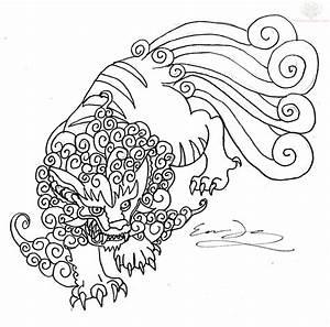Foo Dog Outline Tattoo Design