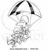 Cartoon Clipart Outline Parachuting Parachute Couple Clip Rf Royalty Poster Illustrations Leishman Ron Toonaday Clipartof sketch template