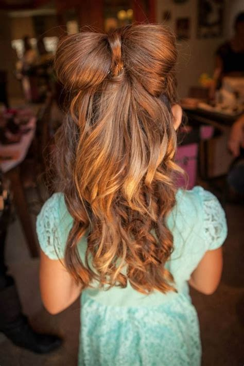 wedding bow hair  wedding day hair flower girl