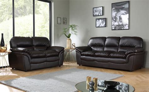 Rochester Dark Brown Leather Sofa Suite 3+2 Seater Only £