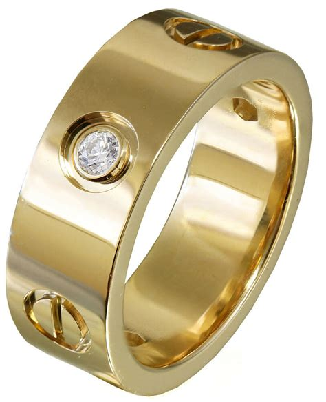 yellow gold  cut diamonds ring band mens bezel